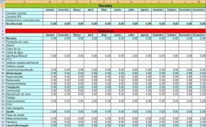 Planilha simplificada de Orçamento Doméstico