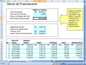 Planilha de Cálculo de Financiamento
