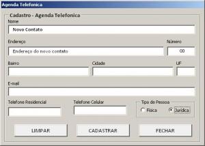 Agenda Telefonica - Tela de Cadastro