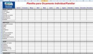Planilha de Orçamento e Planejamento Familiar