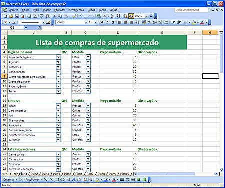 Excel - Planilha ajuda em compras no mercado
