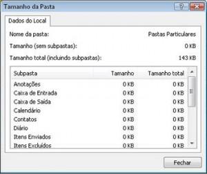 Microsoft Outlook - Conferindo o tamanho das pastas