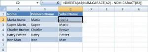 Excel Nome SobreNome
