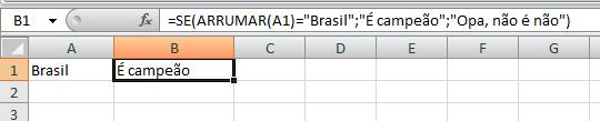 Comparação usando a função ARRUMAR