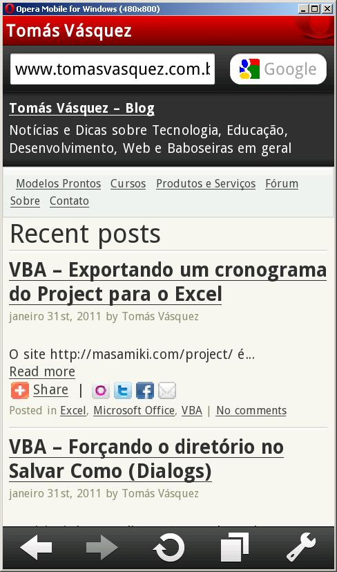 Blog no Opera Mobile