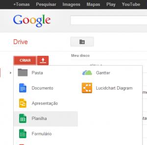 Criando uma nova planilha no Google Drive