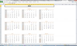 Modelos - Calendario 2014 no Excel (com feriados)