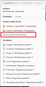 Mostrar cookies e dados do site