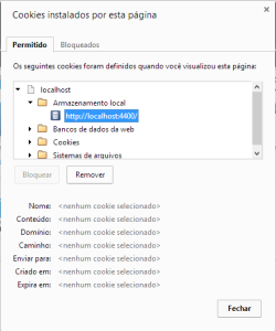 Opções de cookies e dados da página