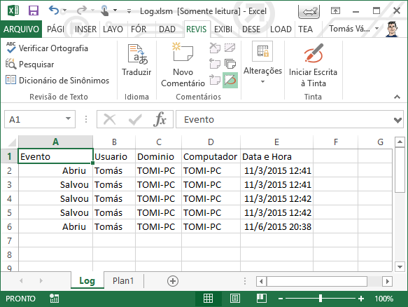 Log no Excel com VBA